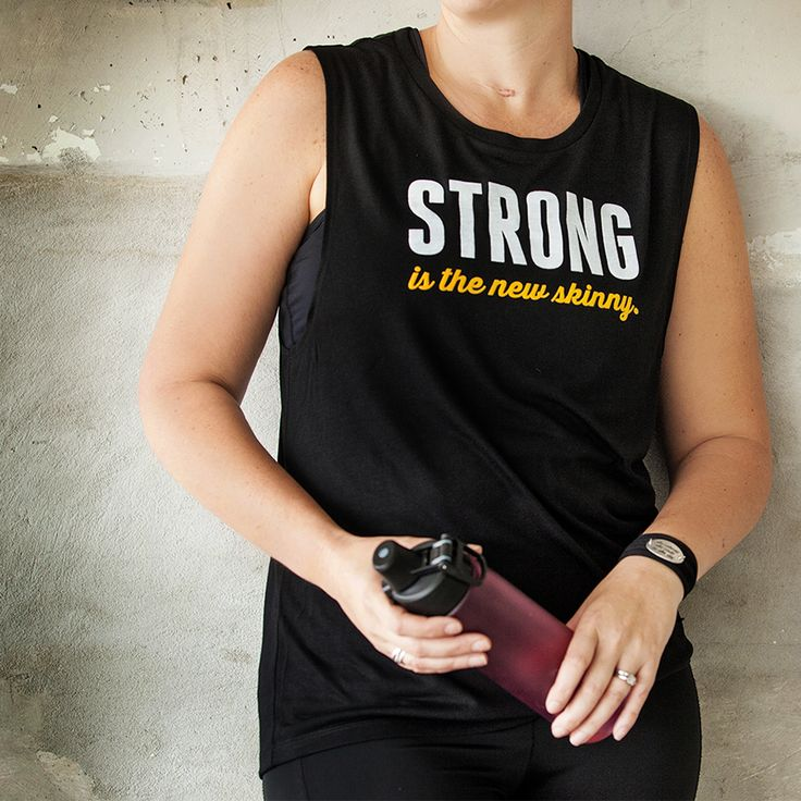 Strong is the new skinny | Flowy Scoop Muscle Tank by ASSKICKER INK.  $35.00 CAD
