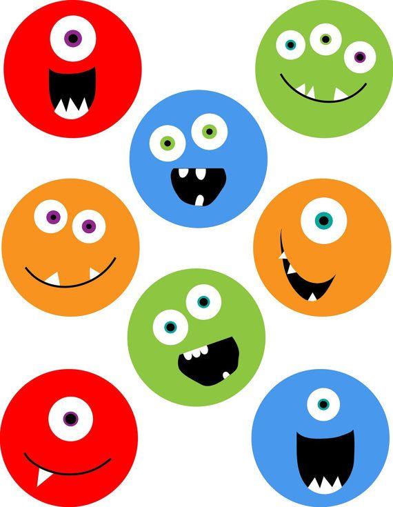 KPM digitale Collage Blatt Monster 2 3/4 Zoll-circles