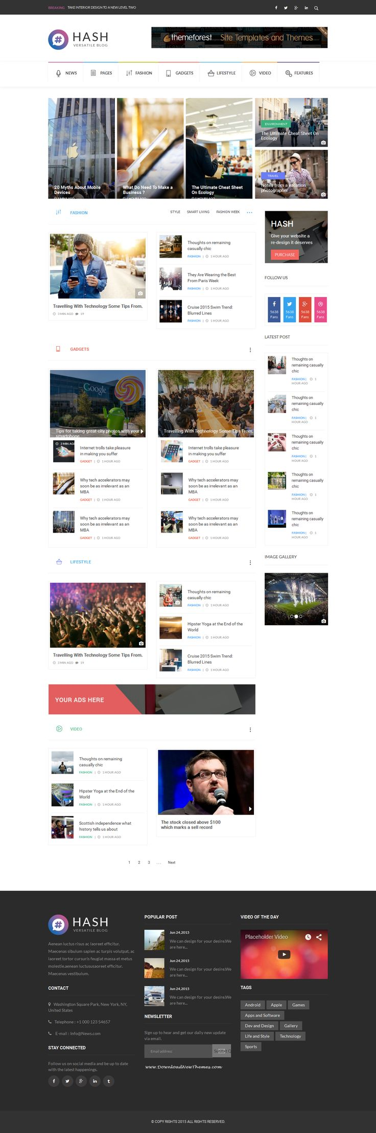 Hash is an new premium #HTML template for News and Magazine website. This theme is compatible with Bootstrap framework. #website