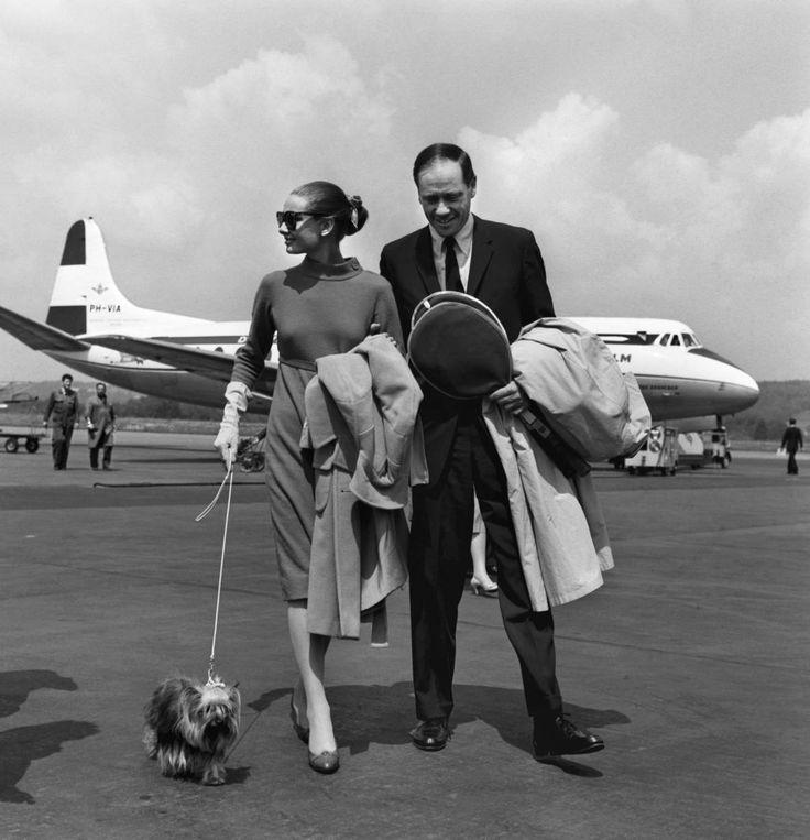 Audrey Hepburn, Mel Ferrer and her dog Famous at Zurich-Kloten airport in Switzerland, May, 1959