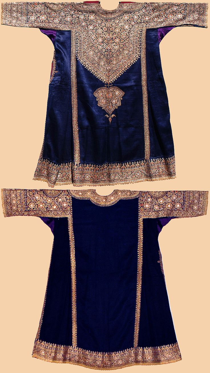 Antique Indian Costume. Silk shirt with gold embroidery. Formerly part of the estate of Laurance S. Rockefeller. 1800-1900 A.D