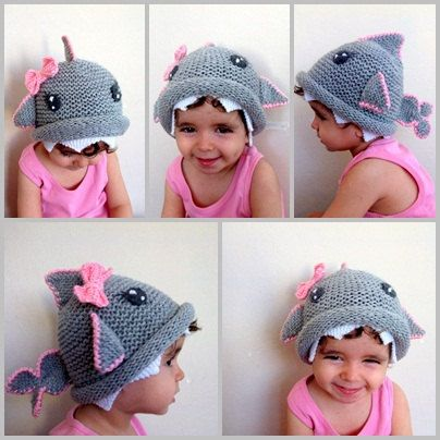 Shark hat -Knitting Baby  Hat  - for Baby or Toddler-Size 6-12 months-Dark gray baby hat-boy halloween costume. $29.00, via Etsy.