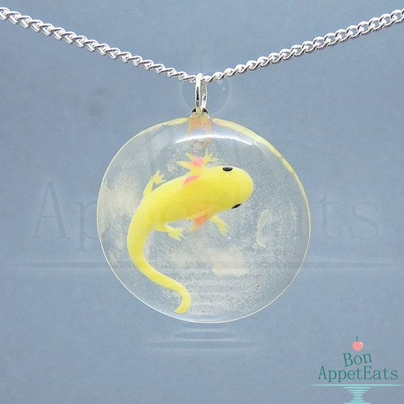 Axolotl Necklace Glow in the Dark Jewelry Golden by BonAppetEats