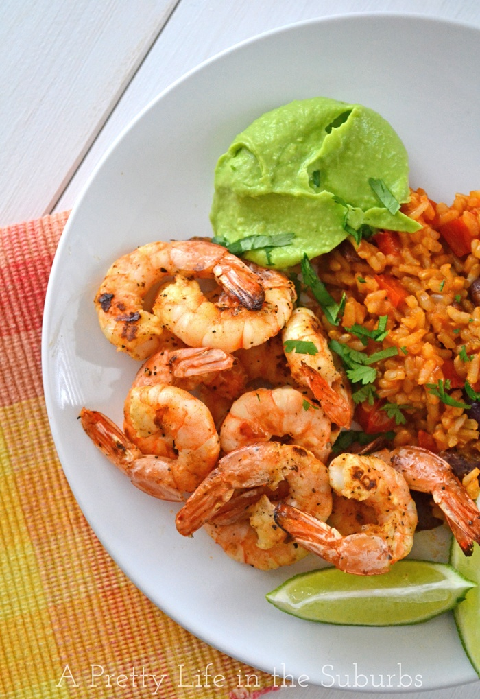 Grilled Shrimp with Avocado Butter - with a delicious lime, creole, fresh garlic marinade, and an avocado butter with lime juice and fresh garlic...great summer BBQ dinner!
