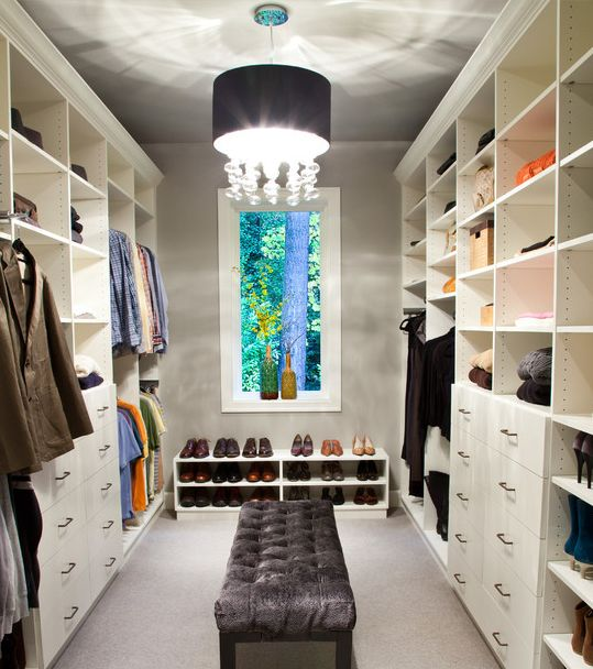 closet idea.. Love the chandelier