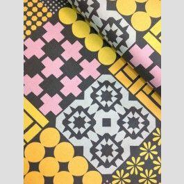 Cheater Print - Charcoal/ Pastel - Stamped - Ellen Luckett Baker - Linen blend fabric from Kokka