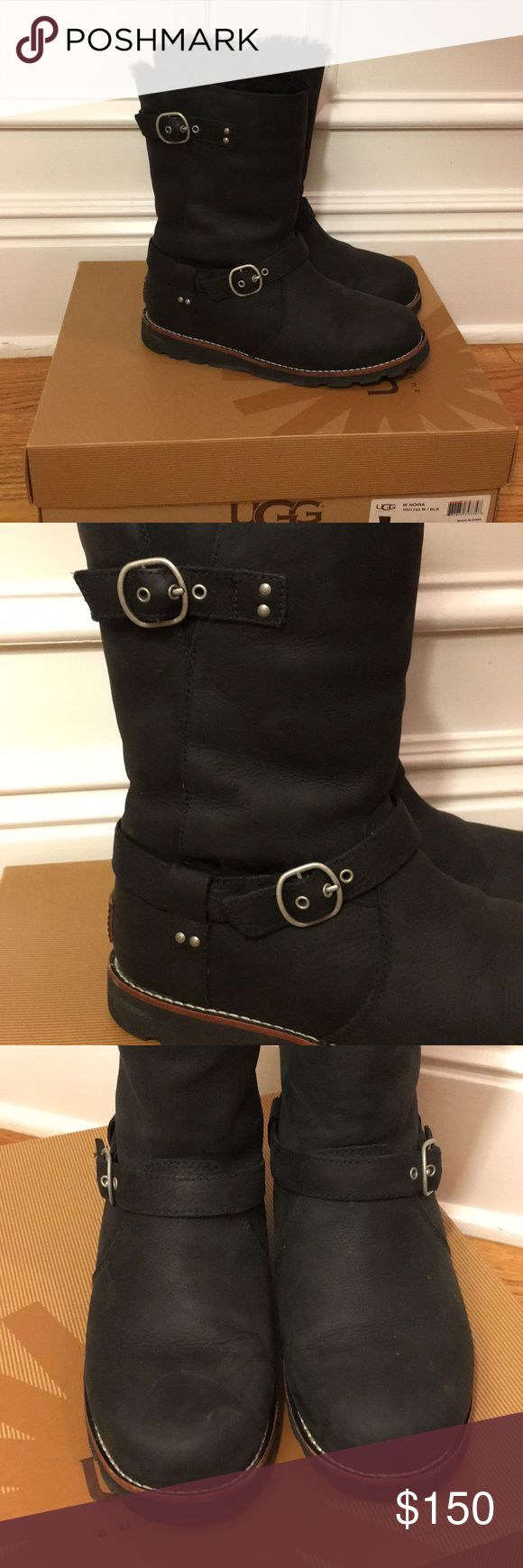 Ugg Black NOIRA Boots UGG black NOIRA women Boots! Worn only a couple times but in flawless condition! Practically new! Purchased at the Walking Co! Not damage! Make me an offer! Leather black boots with silver buckle UGG Shoes Winter & Rain Boots