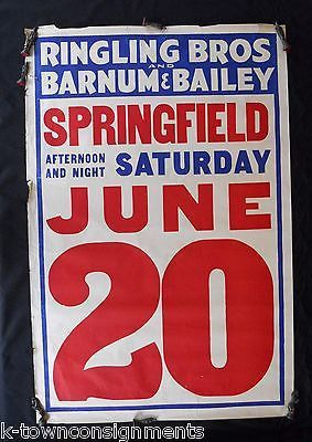 RINGLING BROS BARNUM & BAILEY CIRCUS ORIGINAL ANTIQUE GRAPHIC ADVERTISING POSTER