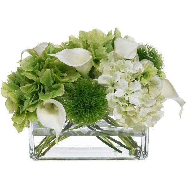 Hydrangea and Calla Lily Bouquet - Transitional - Artificial Flower... ❤ liked on Polyvore featuring home, home decor, floral decor, diane james, fake hydrangea arrangement, silk hydrangea arrangement, hydrangea silk flowers and hydrangea silk flower arrangement