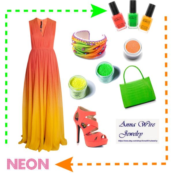 Wear neon! by monaline on Polyvore featuring Elie Saab, Qupid, Nancy Gonzalez, Medusa's Makeup, Sugarpill and Color Club