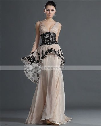 Amylinda™ Chiffon Pleated Applique V Neck Sleeveless Court Train A Line Evening Dress