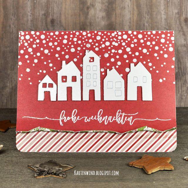 Kartenwind: Weihnachtskarte frohe Weihnachten mit Winterstadt Häuserzeile   Weihnachtskartenkit und Klartextstempel von danipeuss.de #scrapbooking #kesiart #diecutting #stanzen #stempeln #embossen #washitape