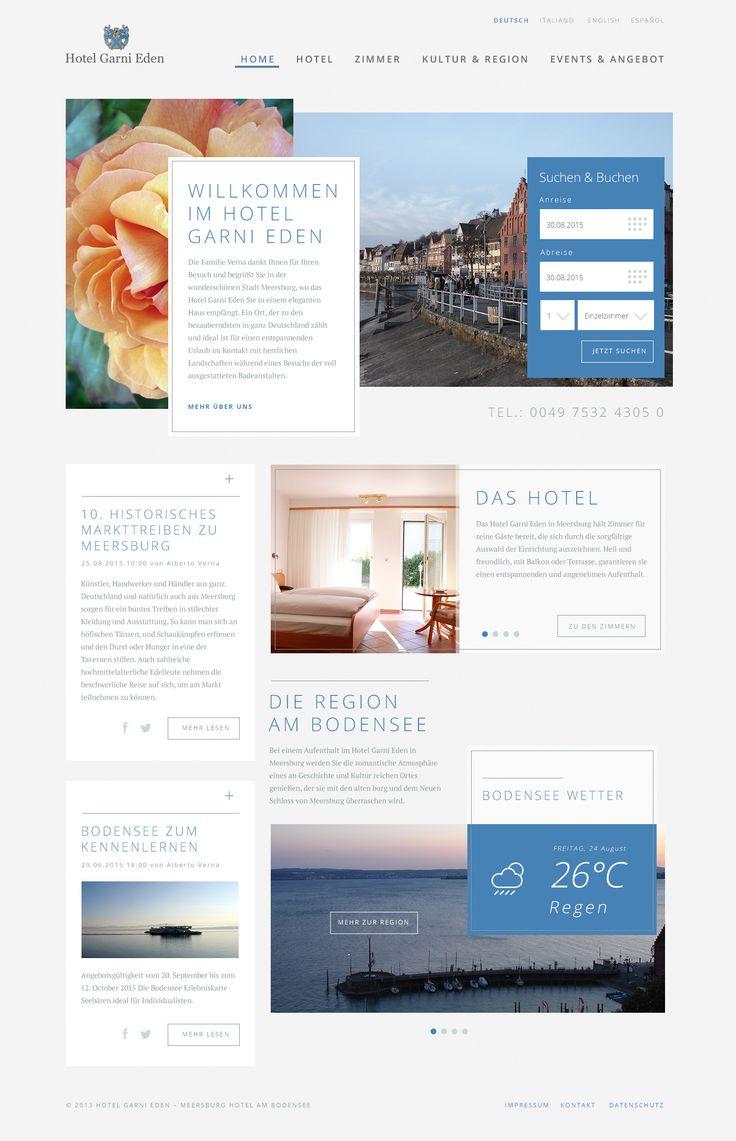 Das Hotel Garni Eden präsentiert sich als geschmackvolles Haus im Herzen der Stadt Meersburg. Für das Hotel wurde ein spezielles und modernes Layout entworfen.