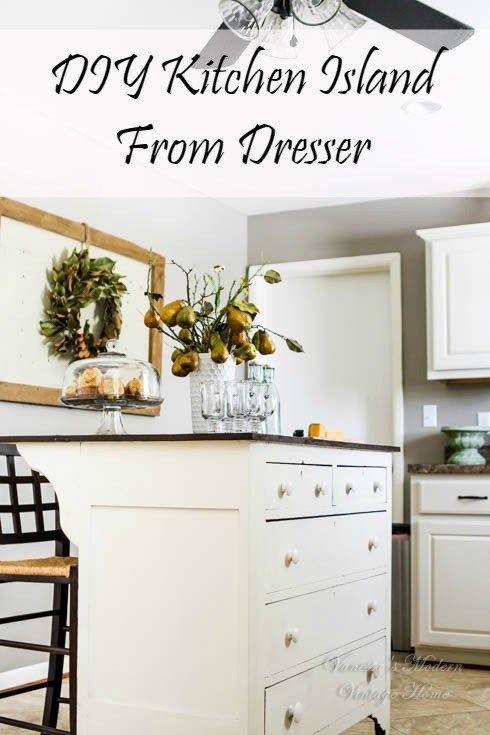 Need Kitchen Storage? Make a kitchen Island from a dresser - Vanessa's Modern Vintage Home