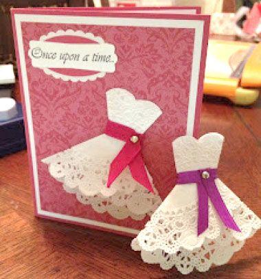 Doily dress cards - easy wedding invitations // Csipke ruhás képeslapok egyszerűen tortapapírból // Mindy - craft tutorial collection // #crafts #DIY #craftTutorial #tutorial #DIYWediingDecor #WeddingPartyFavor #WeddingCrafts