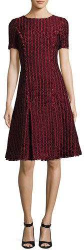 Oscar de la Renta Short-Sleeve Jacquard A-line Dress, Dark Red