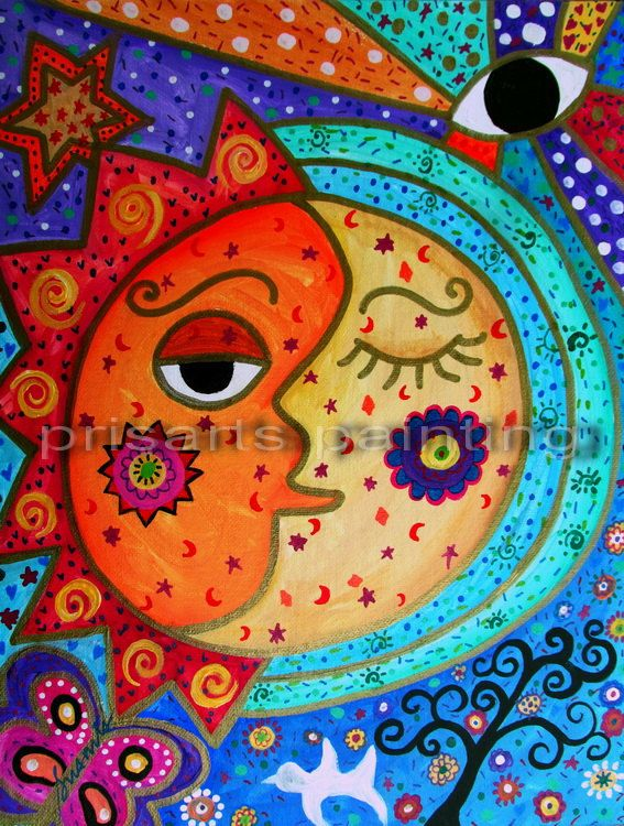 Folk Art Painting Mexican Sun and Moon Couple Love by prisarts, $125.00; great housewarming gift, birthday,anniversary,quincineara,thank you,congratulations,newborn,graduation present. Cool. Best #prisarts #sale