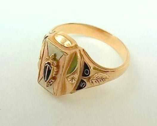 1950 Ladies 10k Gold Class Ring Yellow Gold W Lustrium