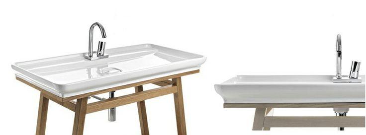 Artceram: umywalki na drewnianym stelażu