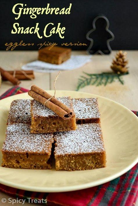 Gingerbread Snack Cake | Eggless Gingerbread Cake | Spiced Snack Cake ...