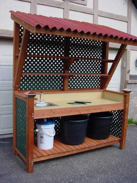 I like the awning - if you add a shelf you could use it to keep the plants you pot up out of direct sun- and harden them off.