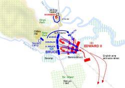 LA BATALLA DE BANNOCKBURN(23 y 24/06/  1314), fue una trascendental victoria escocesa contra los ingleses en las Guerras de independencia de Escocia. Las tropas de Robert Bruce se prepararon en Bannockburn para presenciar el acuerdo de paz entre el rey inglés y su soberano escocés. Al fallar la negociación, los escoceses cargaron contra los ingleses. Ganó Escocia, que además logró su independencia. Se cree que participó un nutrido grupo de templarios comandados por Pierre d'Aumont.
