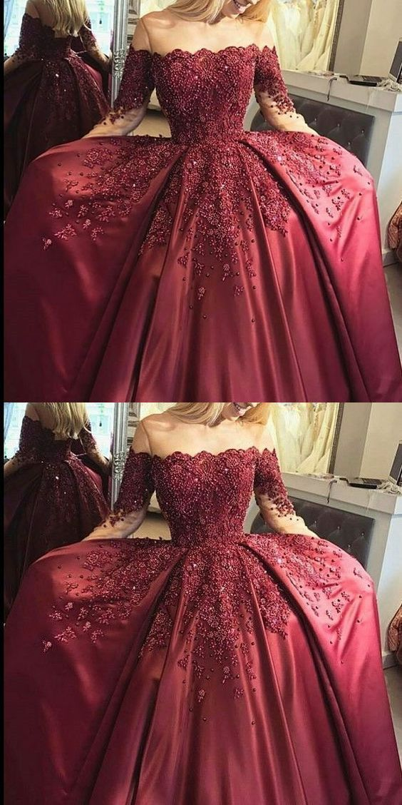 new fashions ball gown lace Prom dresses Formal Dress burgundy Prom Dresses Sexy off the shoulder satin Evening Gowns M0423  #promdresses #longpromdresses #2018promdresses #fashionpromdresses #charmingpromdresses #2018newstyles #fashions #styles #teens #teensprom