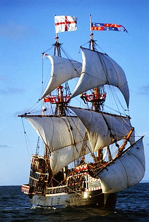 The Golden Hind must have been a bear of a ship to sail up the California coast. Galleons don't sail well to weather.