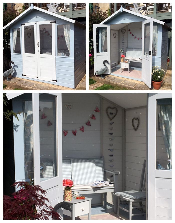 Blue Shabby Chic Summerhouse Ideas For Decorating A Summerhouse Shedideas Summer House Interiors Summer House Design Small Summer House