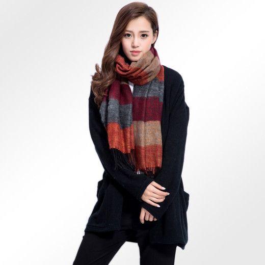 Kvalitný ručne tkaný kašmírový a bavlnený šál - model 01