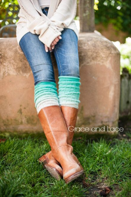 Ombre Leg warmers Mint leg warmers dip dyed by GraceandLaceCo