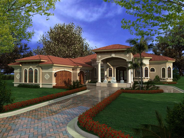 Colours? Florida House? Multiple Private Spaces - 32127AA | Florida, Mediterranean, Luxury, 1st Floor Master Suite, Butler Walk-in Pantry, CAD Available, Den-Office-Library-Study, MBR Sitting Area, PDF, Split Bedrooms | Architectural Designs
