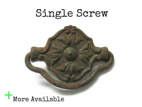 This Listing Is For 1 Vintage Drawer Pull And The Single Screw And Tiny Nail For Installation Very Worn Somew