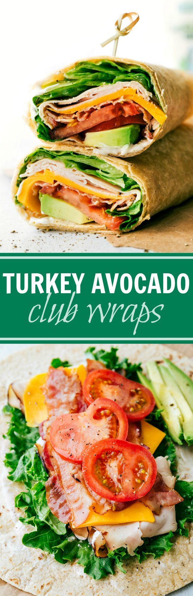 The BEST Turkey Avocado Ranch & Bacon CLUB WRAPS. Easy, healthy, delicious, and ready in under 10 minutes! via chelseasmessyapro...