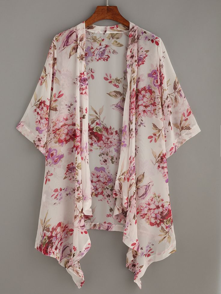 Kimono flor estampada asimétrico gasa-(Sheinside)