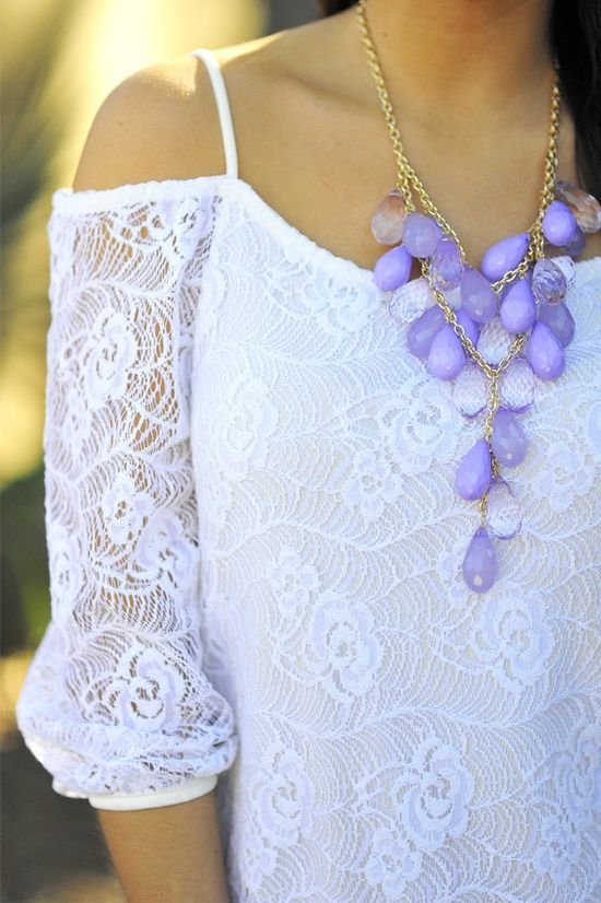 White lace top, lavender necklace