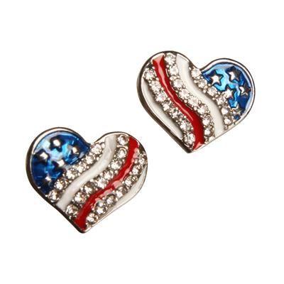 USA hjerte💗 Rigtig flotte øreringe med kunstige sten og Stars and Stripes.  Ørestikkerne er sølvbelagte med en flot emalje af det genkendlige Amerikanske flag.  De smukke kunstige krystaller, der følger de bølgende striber giver et elegant , eksklusivt udtryk.   Øreringene måler 14 mm x 18 mm.