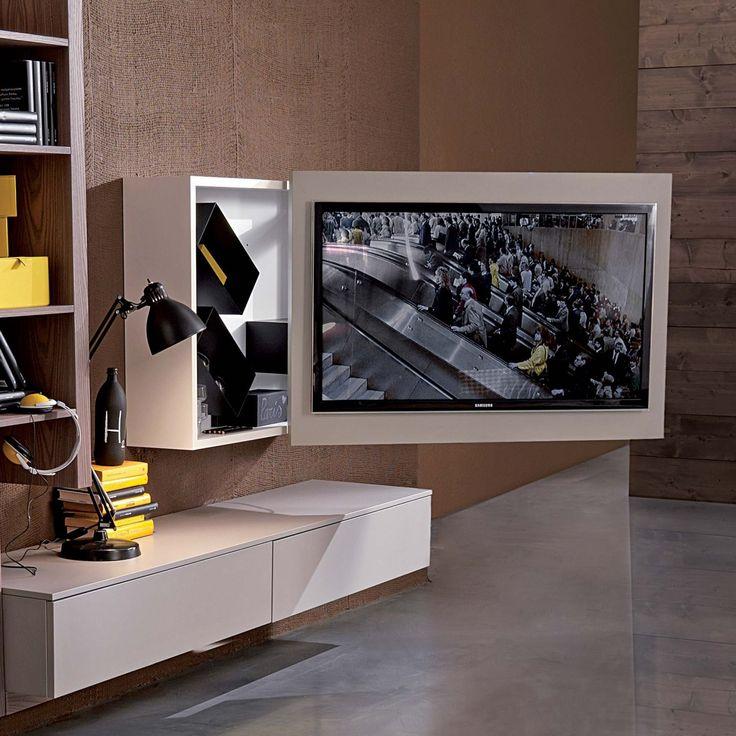 Porta Tv orientabile e apribile Rack con vano contenitore porta cd e dvd
