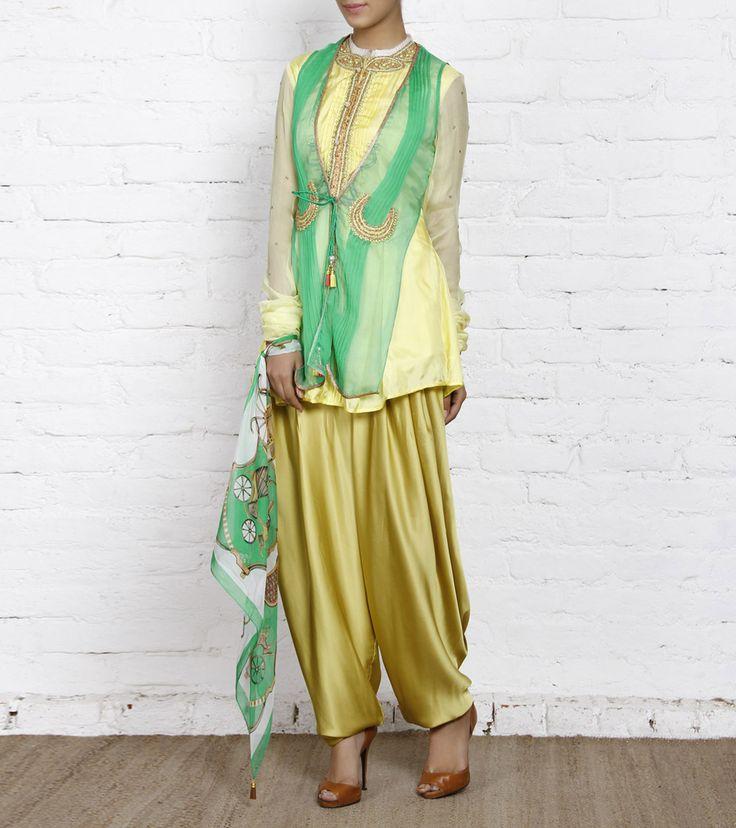 Yellow, Green & Golden Chiffon & Satin Salwar Suit