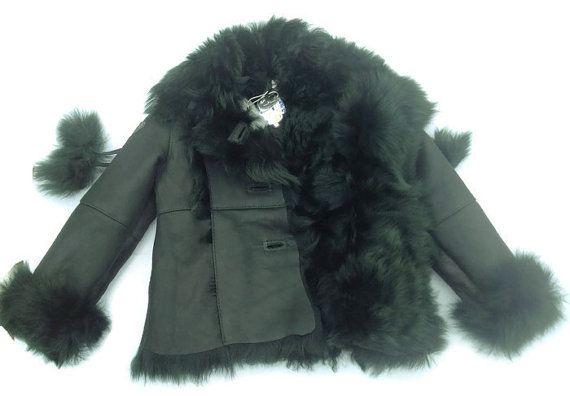 Shearling Coat Lambskin Fur Genuine Leather Fur by TrixiCookies