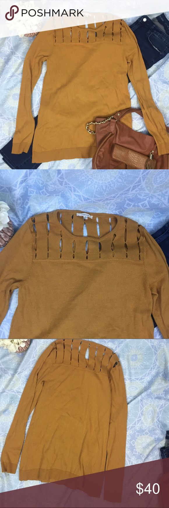 """41Hawthorne Stitch Fix Sweater Cutout Detail Beautiful, unique mustard yellow sweater with cutout detail on shoulders and upper chest and back. Excellent used condition - minimal signs of wash. Cotton/Nylon/Wool blend. Measurements: 29"""" shoulder to hem; 36"""" bust; 27"""" sleeve Sweaters"""