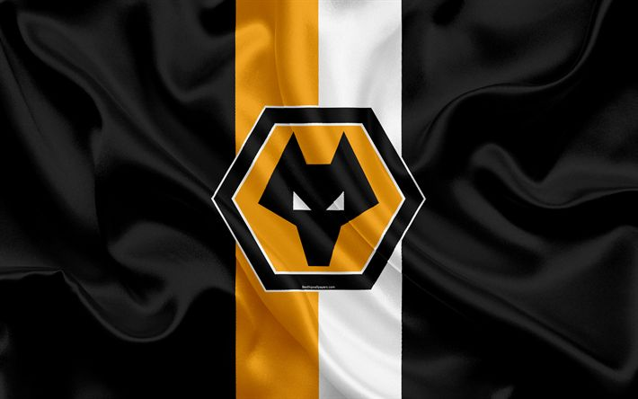 Download wallpapers Wolverhampton Wanderers FC, silk flag, emblem, logo, 4k, England, Wolverhampton, UK, English football club, Football League Championship, Wolves FC, Second League, football