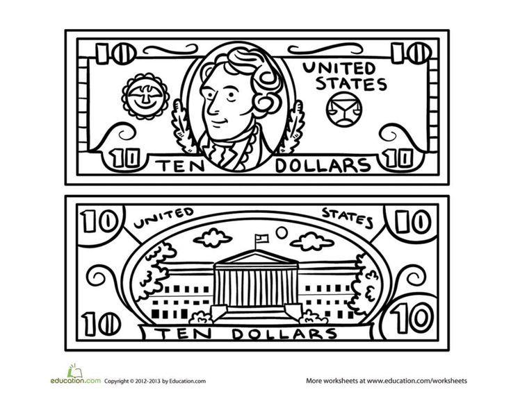 Ten Dollar Bill Worksheet Education Com Bills Printable Printable Play Money Money Math Worksheets