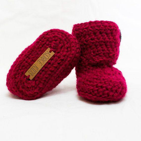 Crochet Baby Ankle Boots/Booties Size 0-3M/3-6M: by KorkeKids
