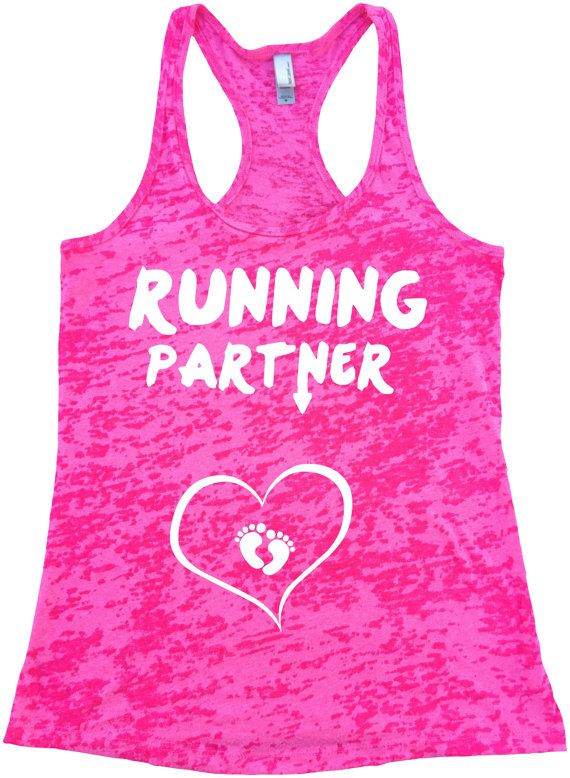 RUNNING PARTNER with BABY feet heart  Pregnant Ladies Burnout Racerback Athletic Fit Tank Top Women's Workout TankTop Pregnant Women So Cute