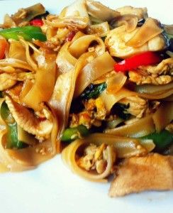 Thai Drunken  Noodles There isn't a drop of alcohol in this dish — the name refers to how much you'll want to drink to combat the heat. We suggest a nice cold beer or sparkling wine.