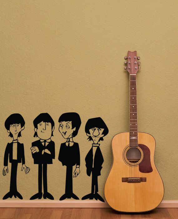 The Beatles Wall Decal Art John Lennon, Paul, George and Ringo