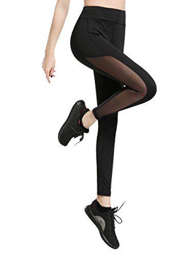dh Garment Legging Sport Femme Yoga Pantalon avec Poche Taille Haute  Amincissant Coton - Noir - Taille XL   44-46  1e1992c87a9