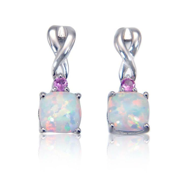 Created Opal & Created Pink Sapphire Earrings