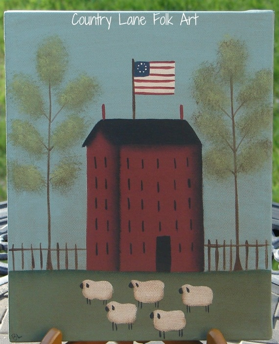 Folksy art in decorative flag for house